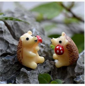 2pc Hedgehog Figurine Miniatur-Statue-Dekoration für Minimärchengarten Micro Landschaft Cartoon Tier Harzfertigkeit TNA028
