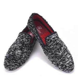 Yeni kış Özel kuzu yün Erkekler iki renk kumaş ayakkabı Erkek Parti Balo ve Ziyafet Loafer'lar Erkekler Artı boyutu Daireler