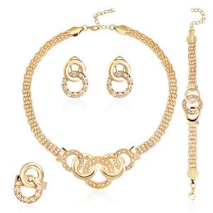 Женщин золотой цвет покрытием Кристалл связаны кулон змея цепи африканских бусины ювелирные наборы подарок ожерелье+браслет+серьги+кольцо