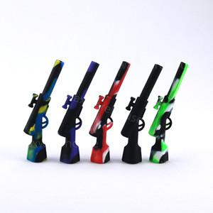 nouvelles pipes à tabac en silicone pipes à pipe en verre bang bulles pour une forme de pistolet favorable pipe en verre mini taille plusieurs couleurs livraison gratuite