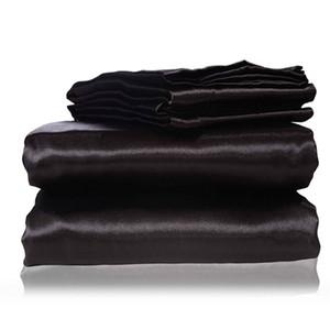 Derin Cep Black ile 2017 yeni ipek Düz Levha Gömme Sac Yastık Kılıfları İkiz Tam Kraliçe Kral Boyutları Nestl Yatak Seti