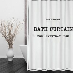 직물 폴리 에스테 백색 까만 목욕 커튼 방수 샤워 커튼 목욕탕 커튼 크기 180x180cm