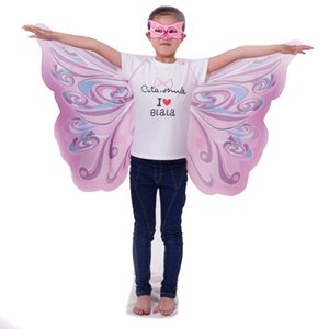 Pink rainbow Monarch Wings cosplay custome set butterfly wings + mask perfect holiday gift party favor play suit