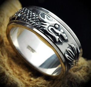 925 الفضة الاسترليني 8MM رجل عريض حلقة التنين محظوظ تميمة حلقة حجم المزيج 14 إلى 28