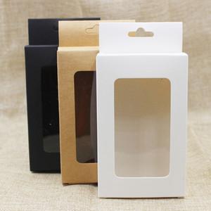 30 Teile / los Weiß / schwarz Pappe mit Klaren Fenster Hängen Loch Verpackung Boxen Kraft Geschenk Geburtstag Gastgeschenke Kleiderbügel Fenster Box Paket
