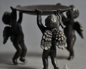 Chine Folk Collect vieux Bronze Cupidon Angel Wing Wing chandeliers Statue Menorah