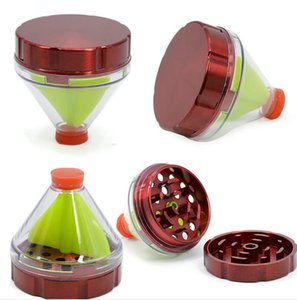 Funnel Herb Grinders 50MM Zinc Alloy Smoking Metal 2 Parts Tobacco Cigarette Grinder Mill Crusher 6colors For Pipes Tools Accessories