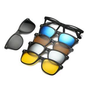5 in 1 Clip On Occhiali da sole con specchio polarizzato Flat Night Vision Lenti magnetiche TR90 Occhiali ottici per miopia Prescription