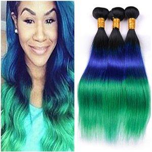 Peruvian Virgin Three Tone Colored Human Hair Extensions Double Wefts #1B Blue Green Dark Root Ombre Human Hair Weaves 3 Bundles Deals