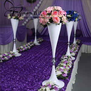 """27"""" grand vase trompette blanc métal table de fête de mariage pièces maîtresses"""