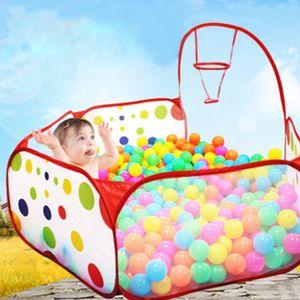 접이식 아이들은 게임 볼 구덩이 폴카 도트 어린이 실내 텐트 바다 볼 풀 아기 교육 장난감 놀이 틀에 대한 펜싱 플레이