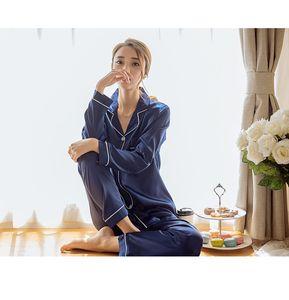 Al por mayor - 2018 Primavera Verano Otoño Womens satinado de seda Pijamas Conjuntos de Sleepcoat Sleep Pants Pijamas de manga Larga Loungewear Ropa para el hogar
