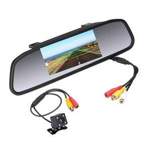 Monitor de estacionamiento automático de video HD para el automóvil LED Visión nocturna que invierte la cámara de visión trasera del auto del CCD con monitor de espejo retrovisor para auto de 4.3 pulgadas