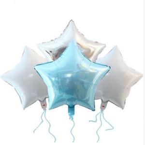 12 unids Baby Shower Globos 18 pulgadas Azul Blanco Astilla Estrella Helio Foil Globos Cumpleaños Cumpleaños 1ª Parte Suministros Decoración Color puro