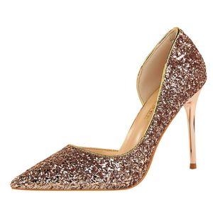 Mulheres Bombas de Moda Sapatos de Salto Alto Preto Vermelho Sapatos de Prata de Ouro Mulheres Sapatos De Casamento nupcial Das Senhoras