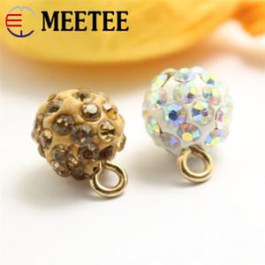 MEETEE 50pcs / lot di alta qualità 10mm resina bianco / oro perla pulsante strass maglione pulsante abbigliamento moda ZK818