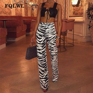 FQLWL casual estampado de zebra de pierna ancha pantalones Mujeres Bell Bottom de talle alto flaco Pantalones acampanados Mujer Otoño Pantalones Streetwear mujeres