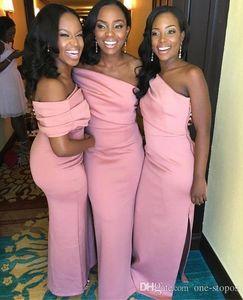 Nuovi abiti da damigella d'onore rosa africani a spalla Vestito da damigella d'onore su misura Vestidos de dama de Honor Side Split