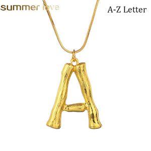 Personalisierte 26 Buchstaben Anfang Bambus Halskette für Frauen Alphabet Anhänger Name Halskette Mädchen Gold Farbe Schlangenkette DIY Schmuck