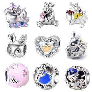 Ücretsiz Kargo Adedi 20pcs Gümüş Ayı Aşk Tavşan Çaydanlık takılar Orijinal Pandora bilezik Takı DIY J027 uygun boncuk