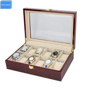 Amereican Style Luxury High Grade Elegant 12 Slots Mens&Womens Wood Glossy Lacquer Watch Box Jewelry Collection Display Drop Shipping Supply