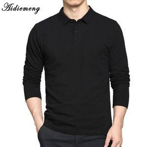 Camisas polo Homens 2018 Primavera Respirável Algodão Polo Camisas Dos Homens de Manga Longa Casual Camiseta Masculinas Plus Size Polos Camisola