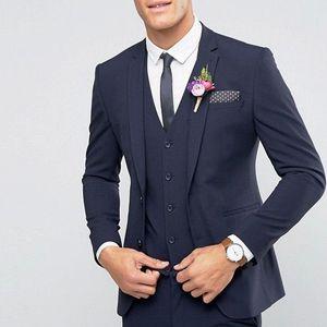 2018 Navy Wedding Groomsmen Tuxedos for Groom Wear Three Piece Classic Three Piece Business Men Suits (Jacket + Pants + Vest )
