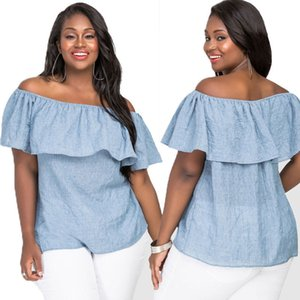 Srpring Summer Sought-After Fashion Womens Plus Size Blusa de hombro suelta Casual Tops 5XL envío gratis