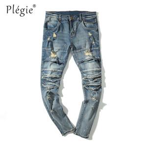 Plegie Erkekler Biker Jeans slim fit Hip Hop Tarzı Kot Erkekler Yok Yırtık Delik Mavi Elastik Motosiklet Denim Pantolon Pantolon