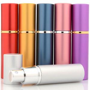 Hot 10 ml Mini Frasco de Perfume Vazio Recarregável Atomizador De Alumínio Viagem Parfum Recipientes Com Atomizador Bomba Airless 8 Cor