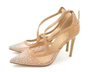 Мода Кристалл женщины насосы blingbling Стилет классический острым носом лодыжки пряжки ремень сексуальный тонкий высокие каблуки черный серебряный ню