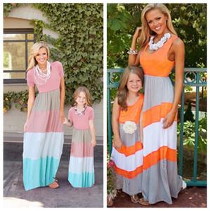 Maman Et Moi Robe Famille Correspondant Vêtements Mère Et Fille Robes Famille Regarde Enfants Parent Enfants Patchwork Stripe Robes Tenues