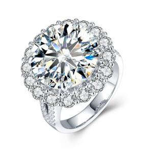 Роскошные 5ct пасьянс боковые камни Moissanites кольцо 4 Зубец установка 14 K белое золото лаборатории выросли бриллиантовое кольцо для женщин Леди S923
