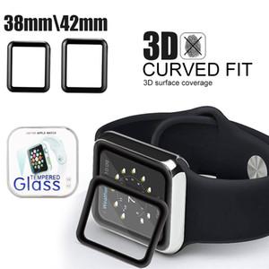 크리스탈 상자에서 애플 iwatch 5 전체 곡선 강화 유리 38mm의 42mm 시리즈 1/2/3/4 안티 스크래치 보호를위한 3D 전체 접착제 화면 보호기