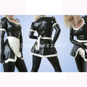 Uniforme Sexy Latex Rubber Cosplay Maid trajes para Club desgaste do partido trajes de Halloween para as mulheres sexy sem glovespants