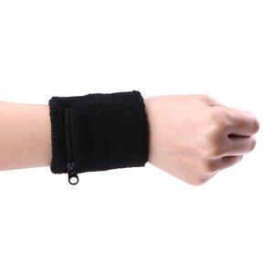 1 Pair Zipper Pocket Towel Movement Wipe Sweat Warm Wrist For Sport Basketball Tennis Badminton Sports Protection Wrist Support