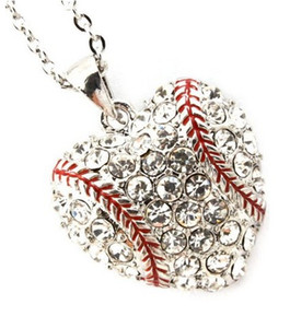 26mm*28mm Fashion Sports Jewelry 50pcs a lot Rhodium Plated Rhinestone Heart Baseball or Softball Pendant Necklace