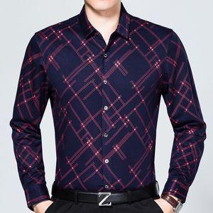 2018 marca de moda casual slim fit outono inverno quente camisa dos homens sociais roupas sociais argyle camisas mens dress alta qualidade 5091