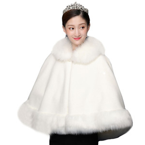 Big Bridal Cloak Women's Wraps Wraps Faux Fur Wrap Wedding Capes Per le spose Partito serale Stole di pelliccia Scialle nuziale Bolero