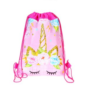 1pcs / lot Decoration Party Mochila Baby Shower Kids Girls favori Buon compleanno Cartoon Unicorno Tema Coulisse regali Borse