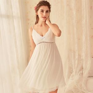 Женская ночная рубашка Condole Belt Skirt Женская S-XL Летняя ночная рубашка Sexy Кружева V-образным вырезом Милая принцесса Пижама Сексуальная юбка