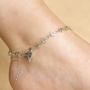 Vintage Silber tibetischen Silber hohlen Pflaumenblüte Blume Fuß Dekoration Herz Herz Fußkettchen Armband