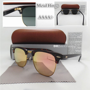 EN Kaliteli Cam Lens Moda Erkek Kadın Tahta Güneş Gözlüğü UV400 51 MM Yarım Çerçeve Tasarımcı Vintage Pembe Altın Cıva Ayna Kahverengi Kutu Caes