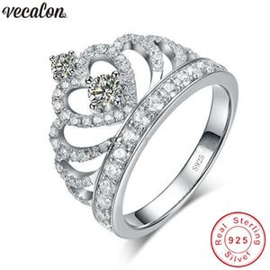 Vecalon corona anello fatto a mano 100% di nozze Soild Argento 925 Sona 5A zircone Cz fidanzamento anelli a fascia per le donne gli uomini regalo