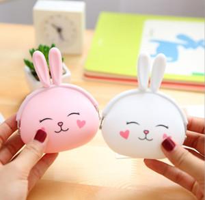 패션 동전 지갑 사랑스러운 카와이 만화 토끼 주머니 여성 소녀 작은 지갑 부드러운 실리콘 코인 가방 키즈 선물 토끼 키 케이스