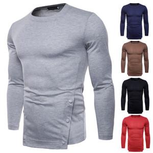 Otoño de los nuevos hombres de la camisa ocasional de color sólido de manga larga camiseta código europeo comercio exterior al por mayor punto