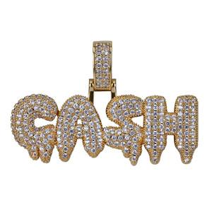 Joyería de Hip Hop por goteo Gash Carta colgante, collar de color oro plateado heló hacia fuera completa la manera del Zircon Hombres Mujeres