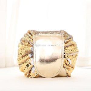 Bolsa de lentejuelas Vely Cosmetic Bolsas Lazy Pouch Magic Travel Storage Glitter Womens Sequin Cosmetic Bolsa de maquillaje Organizador Vely Drawstring Merma Trml