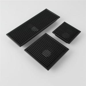 Siyah SUS 304 Paslanmaz Çelik Duş Drenaj Banyo Zemin Drenaj Kiremit Eklemek Kare Anti-koku Zemin Atık Izgaralar 110-300 MM
