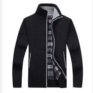 Novos Homens Camisola de Lã Estilo Casual Gola de Algodão Material de Lã Fina Quente Grosso Sweatercoat Outono Inverno Cardigan Com Bolso